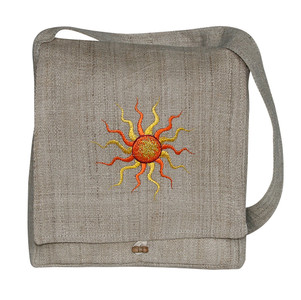 "PGHE  -  Hemp Jamke Hand Bag Assorted Embroideries 12"" X 13"