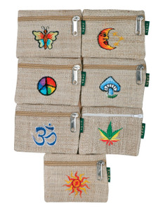 PHCE  -  Hemp Coin Purse with Embroidery Assorted Colors 4.