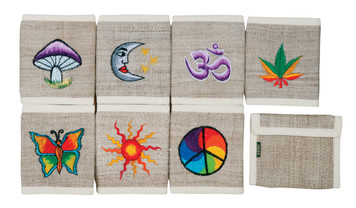 """PHWE  -  Hemp Wallet With Embroidery Assorted Colors 5"""" X 4"""