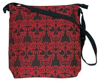 "Red Skull 17"" x 16""  - Zipper close and adjustable Strap"