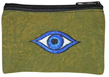 Hand embroidered Evil Eye coin purse
