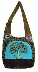 Large barrel bag with beautiful Tree of Hearts embroidery on a patchwork setting