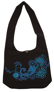 Beautiful Embroidery on a Barrel Bag - zipper close -  Hidden secret Pocket in strap