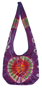 Sturdy Tie Dye bag with zipper close and embroidery