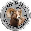 BIGHORN SHEEP - 3/4 oz Pure Silver Coin - Color Canada 2017