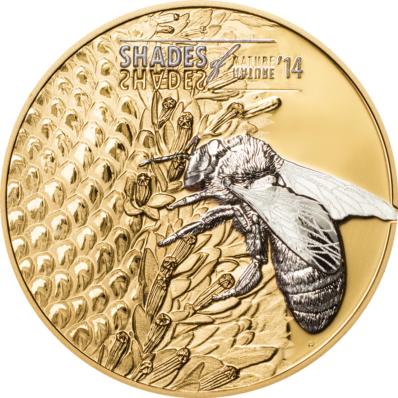 shades of nature bee cook islands 2014 5 gilded silver coin. Black Bedroom Furniture Sets. Home Design Ideas