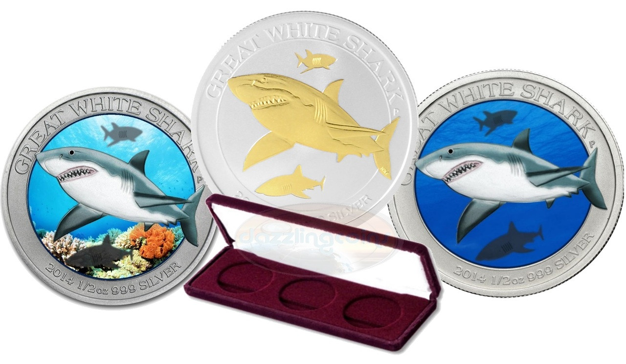 great white shark color gilded 999 silver coin