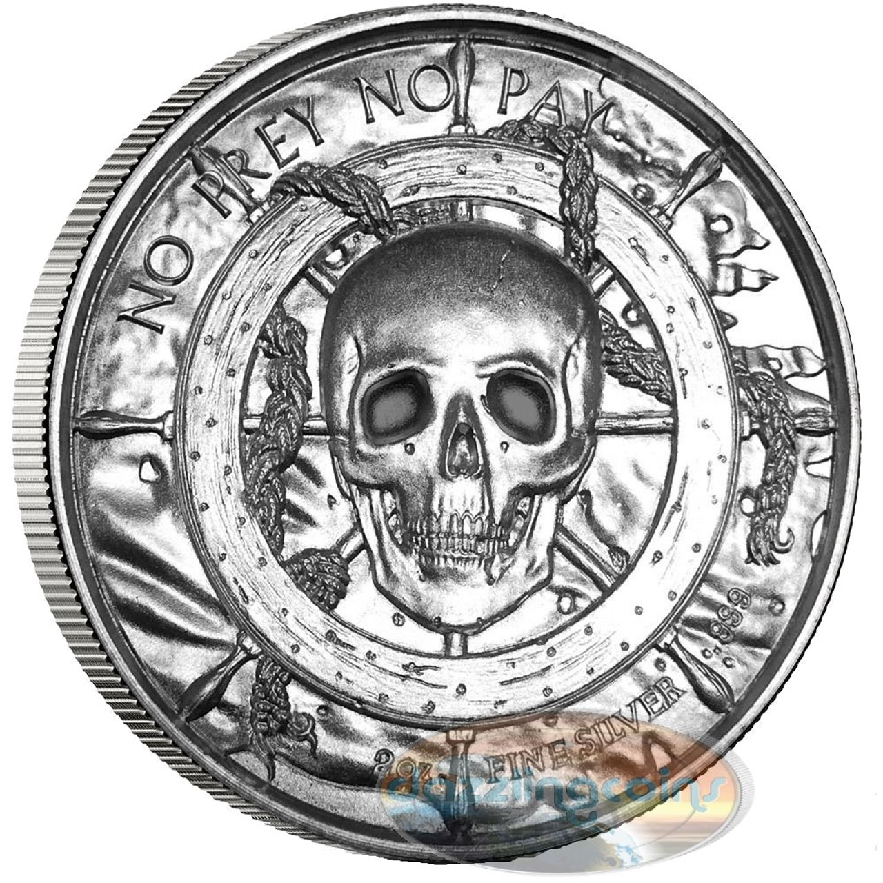 2 Oz Silver Privateer Ultra High Relief Rounds Pirate Coin