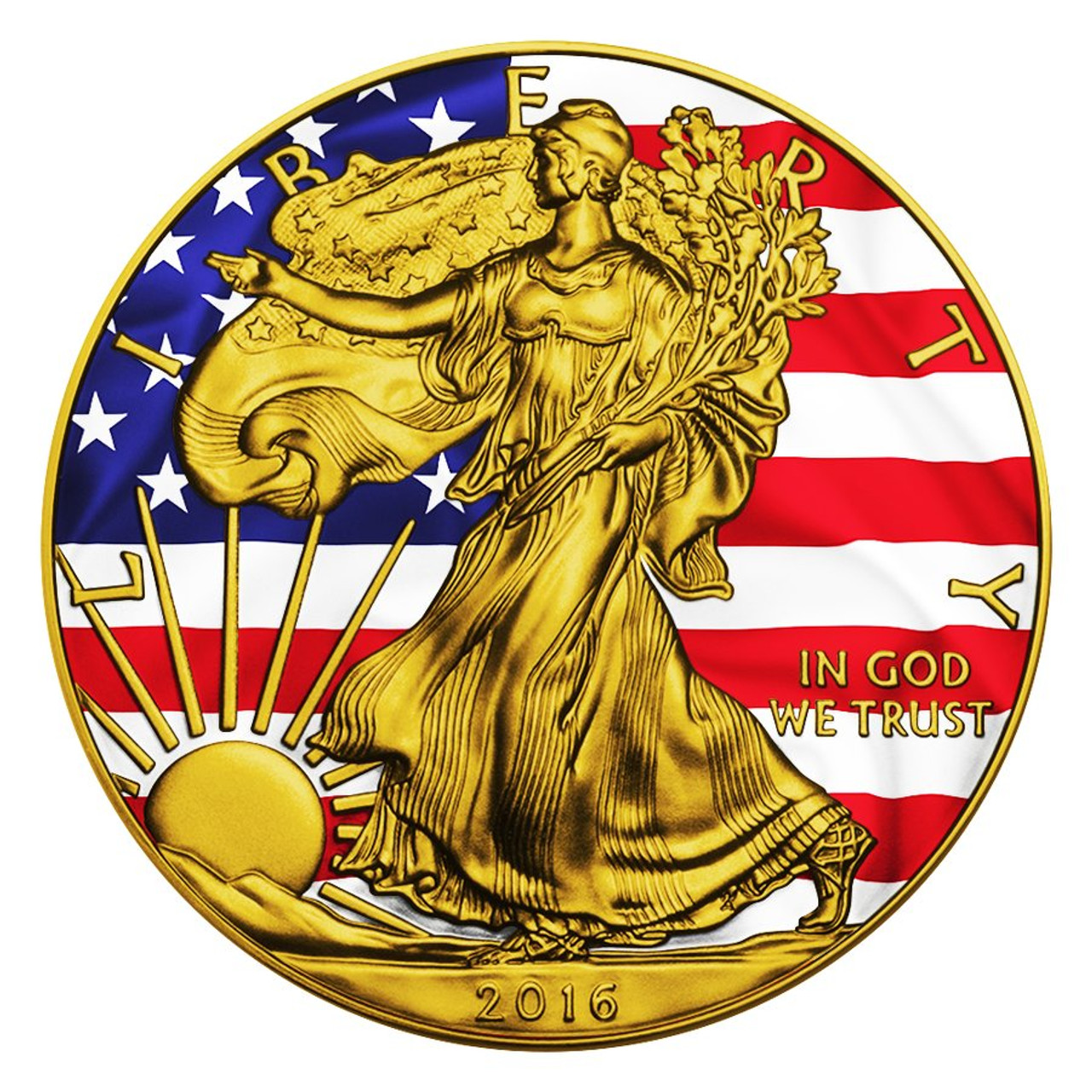 2016 American Eagle Patriotic Liberty Flag 1oz Silver Coin