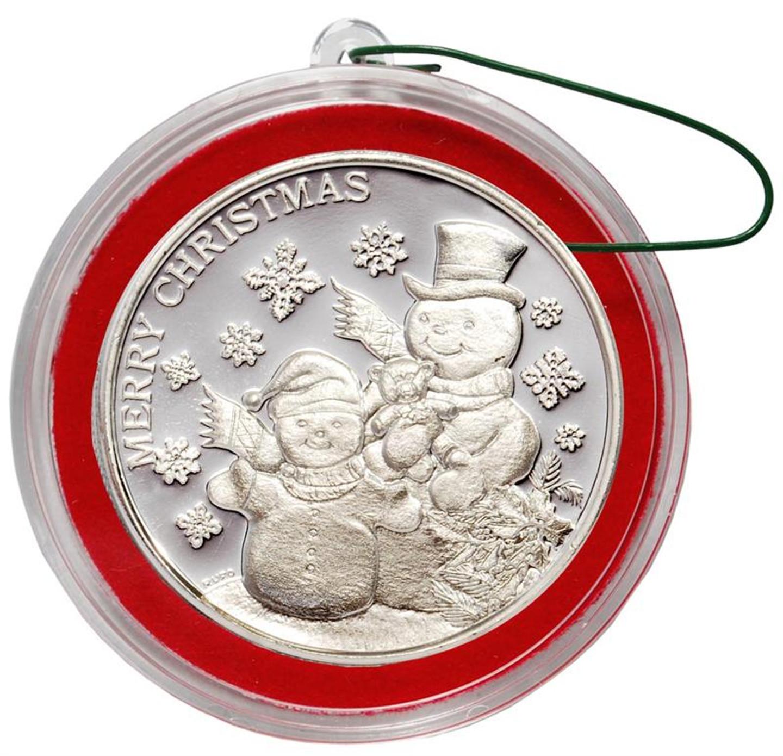 2014 Snowman Christmas Round Silver 1 Oz 999
