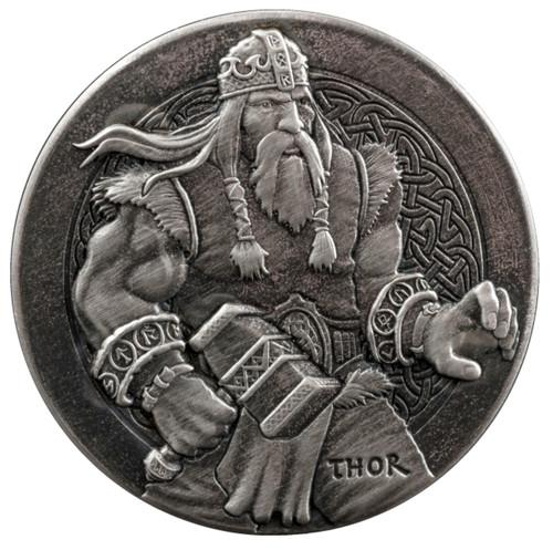 Viking Series -THOR - 2 oz .999 Silver Antique  Coin Niue 2016