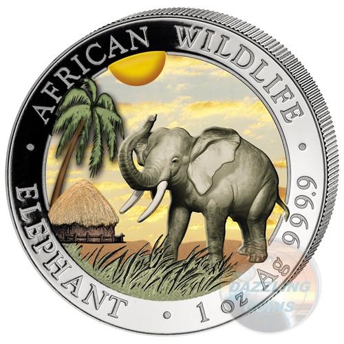 2017 1 oz Color Silver Elephant Coin - 100 Shillings Somalia