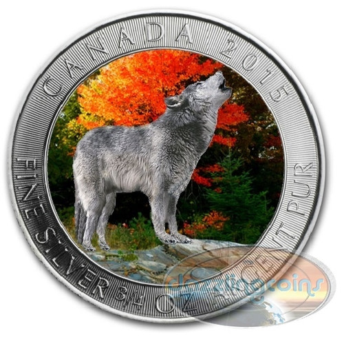 2015 Wolf $2 Silver Color Coin .9999 Canada