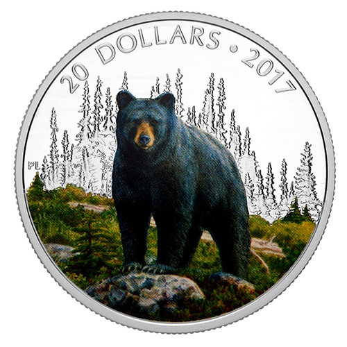 THE BOLD BLACK BEAR - 2017 1 oz Pure Silver Coin Canada