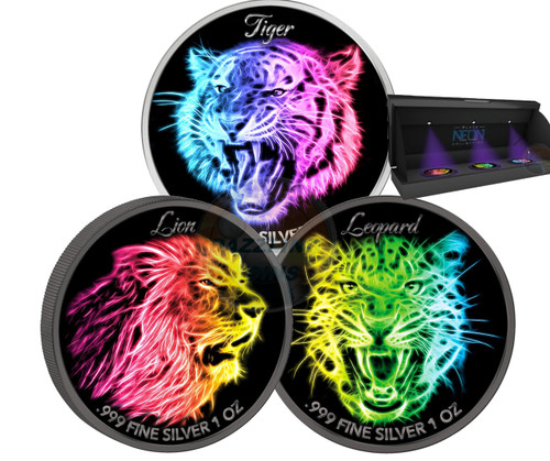 LION LEOPARD TIGER Black Neon Collection 3x 1 Oz Silver Coin 5$ Niue 2016