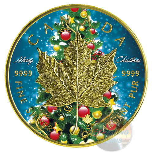 CHRISTMAS TREE MAPLE - MERRY CHRISTMAS - 2016 1 oz $5 Silver Maple Leaf Coin - Color&24K Gold Gilding