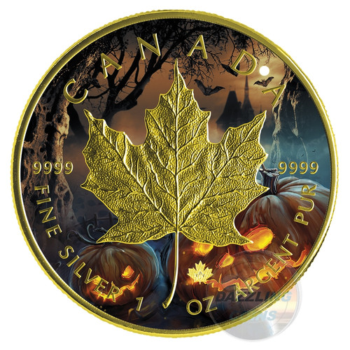 HALLOWEEN - JACK-O-LANTERN - 2016 1 oz $5 Silver Maple Leaf Coin - Color & 24K Gilding