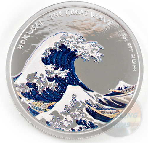 The Great Wave off Kanagawa in Color 1 oz Silver Proof Coin Fiji 2017