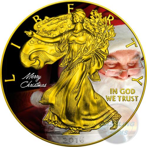 CHRISTMAS Walking Liberty 1 Oz Silver Eagle Coin 1$  2016