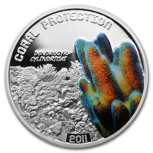 CORAL Dendrogyra cylindricus Tuvalu $1 2011 Silver Proof Coin