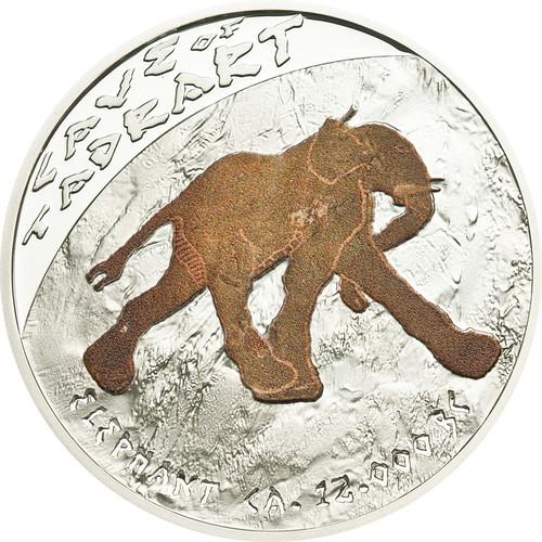 CAVE  Tadrart Elephant ~ Prehistoric Art Silver Proof Coin 1$ Niue 2011