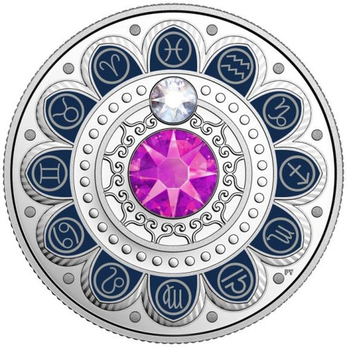 PISCES Zodiac $3 Silver Proof two Swarovski Crystals 2017 Canada r