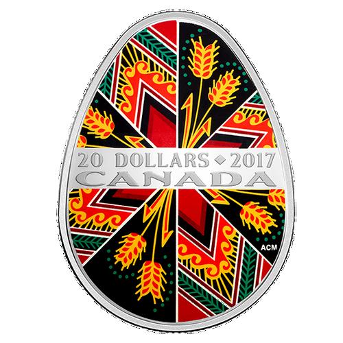 TRADITIONAL PYSANKA - 1 oz Pure Silver Coin $20 2017 Canada
