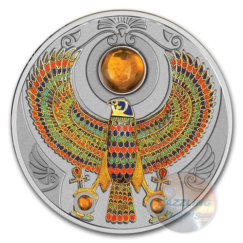 FALCON OF TUTANKHAMUN Horus Amber 2 Oz Silver Coin 2$ Niue 2017 r