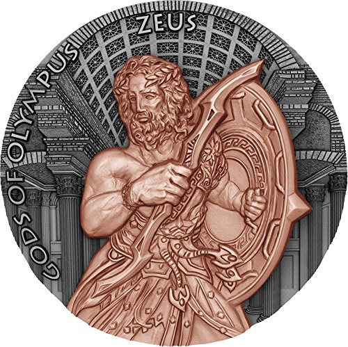 ZEUS Gods of Olympus Rose Gold Plated 2 Oz Silver Coin 5$ Niue 2017