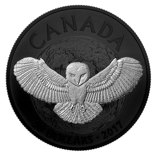 NOCTURNAL BY NATURE: THE BARN OWL - $20 1 oz Fine Silver Coin - 2017 Canada