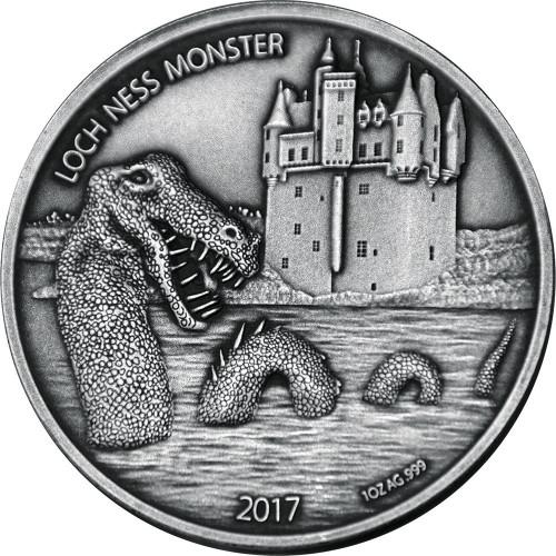 LOCH NESS MONSTER 1 Oz Silver Coin 1000 Francs Burkina Faso 2017
