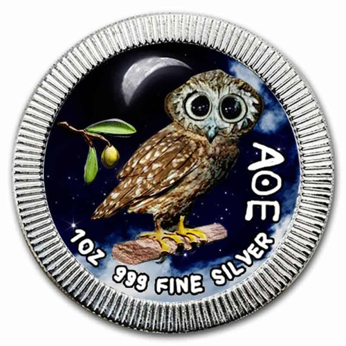 OWL of ATHENS Fine Silver color coin 1 OZ Niue 2017