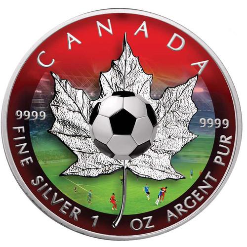 MAPLE LEAF - Football  Edition  $5  Pure Silver Coin  Canada 2016