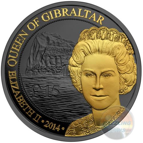 QUEEN OF GIBRALTAR Golden Enigma 1 Oz Silver Coin 15 GBP UK 2014