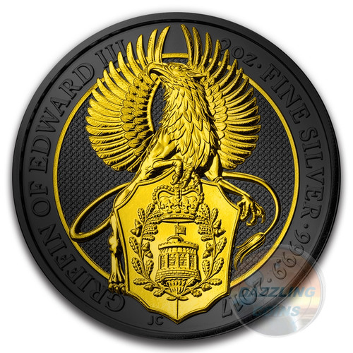 QUEENS BEAST GRIFFIN Golden Enigma 2 Oz Silver Coin 5£ UK 2017