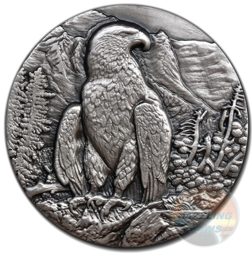 GOLDEN EAGLE King of the skies Ultra High Relief 1 oz Silver Coin 2016 Niue