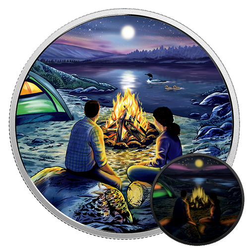 AROUND THE CAMPFIRE - GLOW-in-DARK $15 Silver Coin Canada 2017