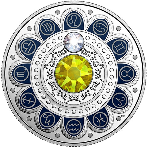 LEO Zodiac $3 Silver Proof two Swarovski Crystals 2017 Canada