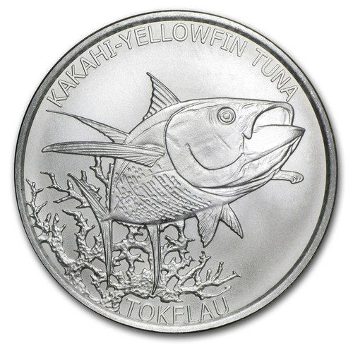 KAKAHI-YELLOWFIN TUNA  1 oz Silver Satin Finish Coin 2014 $5 Tokelau