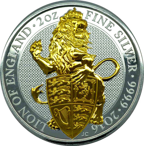 THE LION OF ENGLAND - THE QUEEN'S BEASTS - 2 oz Silver Gilded Coin 2016 UK