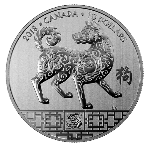 YEAR OF THE DOG - $10 1/2 oz Fine Silver Coin 2018 Canada