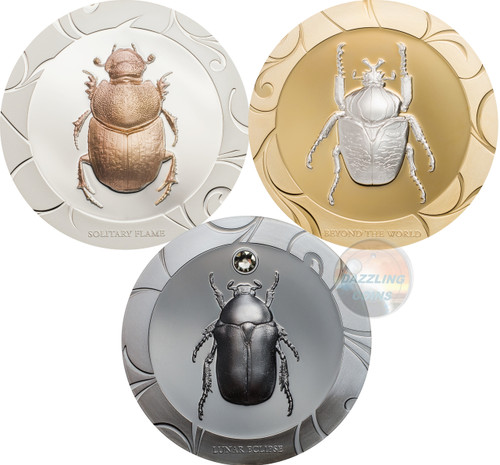 SCARAB SELECTION II Set 3x1 -SOLITARY PLACE-Beyond the World-LUNAR ECLIPSE-  Oz Silver Coins 5$ Cook Islands 2017