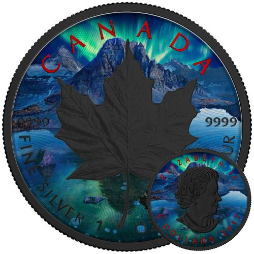 MAPLE LEAF AURORA - Silver Maple Leaf 1 oz Silver Coin - Black Ruthenium & Color 2017 Canada