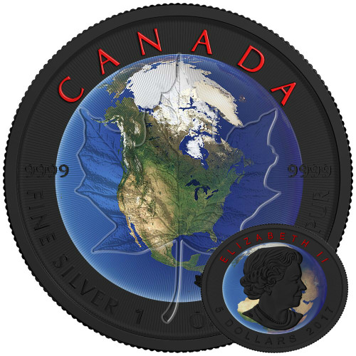 MAPLE LEAF PLANET EARTH - 1 oz Pure Silver Coin -Black Ruthenium & Color 2017 Canada
