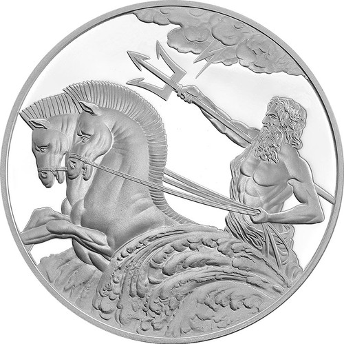POSEIDON 1oz Proof Silver Tokelau Coin 2017