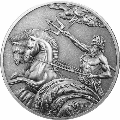POSEIDON 1oz High Relief Antique Silver Tokelau Coin 2017