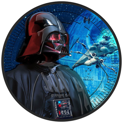 DARTH VADER - X-WING STARFIGHTER - STARWARS - 2017 1 oz Silver Coin - Color & Ruthenium