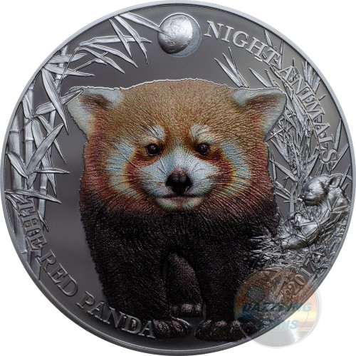 RED PANDA Night Animals 1 Oz Silver Coin 5$ Cook Islands 2017