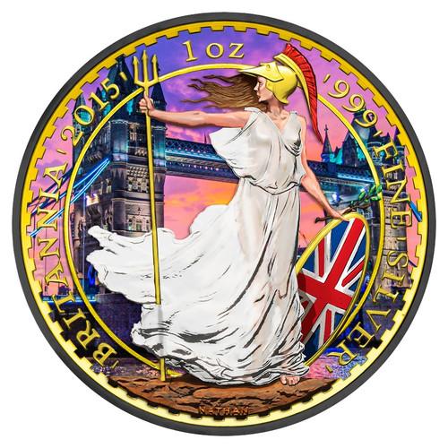 BRITANNIA TOWER BRIDGE 1 oz Silver Coin Color 24K Gold Gilding 2015 UK