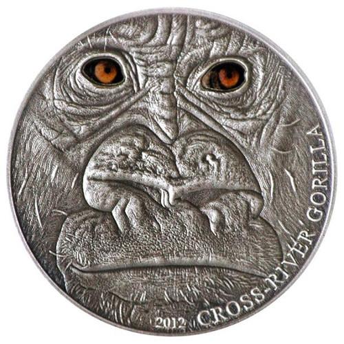 CROSS RIVER GORILLA 1 Oz Silver Coin 1000 Fr. Cameroon 2012